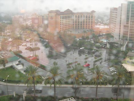 Raindrops hit a window on the the 15th floor of the Hyatt in Anaheim, Calif.