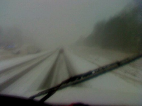The trucks carrying band equipment hit more snowy weather about 60 miles from Memphis, Tenn. (Photo shared by Jimmy Crocker)