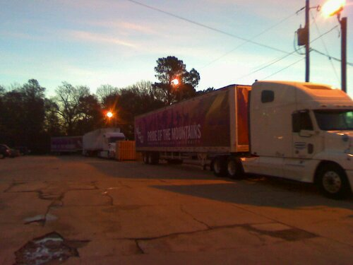 The sun come up over the trucks on the eastern side of Texas on Monday, Dec. 27.