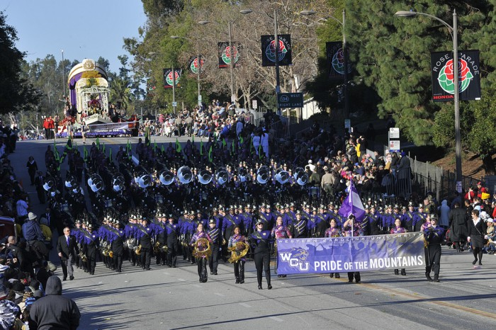 The band marches in the Rose Parade.