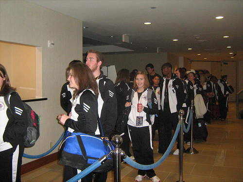 The first wave of Western Carolina University Pride of the Mountains Marching Band students check in to the Hyatt in Anaheim, Calif., late Tuesday, Dec. 28.