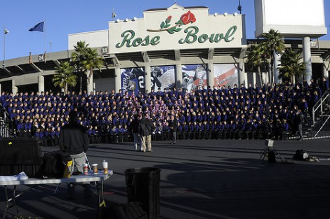 The WCU band prepares to have their official Rose Bowl photo made on Dec. 30.
