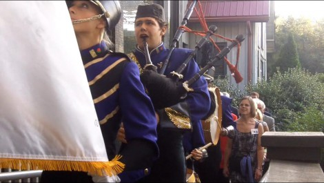 Ezra Byrd plays bagpipes as well as tuba in the Western Carolina Unviersity Pride of the Mountains Marching Band. Byrd performed in a procession at a reception (pictured here) in honor of Rose Parade president Jeff Throop and his wife Angel.