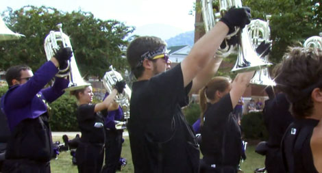 Josh Burr rehearses with the WCU Pride of the Mountains Marching Band.