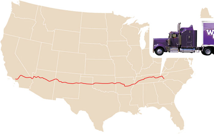 This map shows the progress of the three trucks carrying Pride of the Mountains Marching Band equpiment to California.