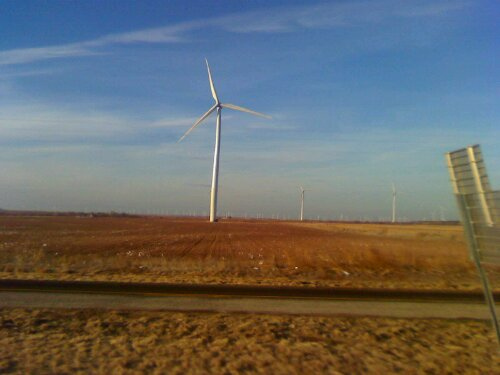 Windmills dotted the landscape as the trucks rolled through Texas.