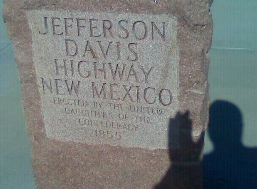 The drivers took a picture of a sign for the Jefferson Davis Highway.