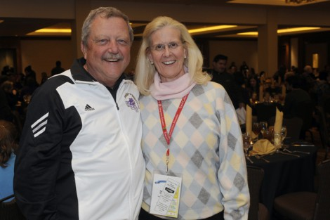 WCU band director Bob Buckner catches up with WCU alumna Catherine Dillard.