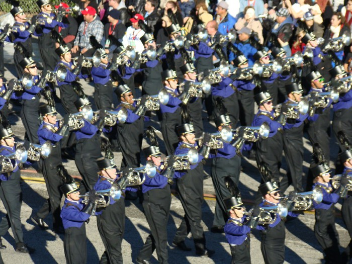 The Western Carolina University Pride of the Mountains Marching Band participates in the 2011 Rose Parade. (Photo from WCU Chancellor John W. Bardo)