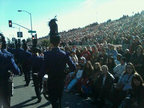 Thousands lined the route of the Rose Parade, as seen in this photo taken by Matt Henley, assistant band director, during the 2011 Rose Parade.