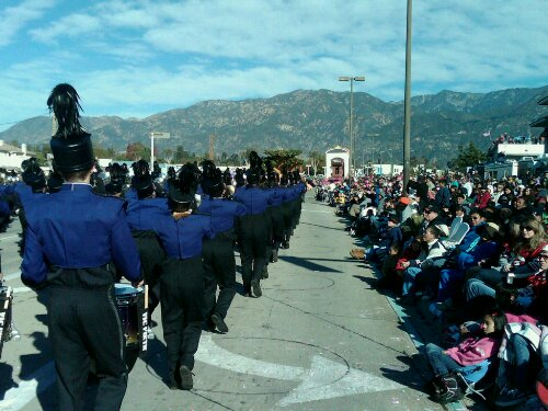 The band marched 5.5 miles in the Rose Parade through Pasadena, California, as captured in this picture from assistant band director Matt Henley.
